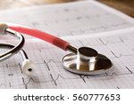 image of heart and stethoscope. ... | Shutterstock . vector #560777653