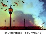 Gothic Background With Bats An...