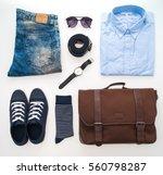 beautiful fashion clothes set... | Shutterstock . vector #560798287