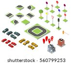 set isometric road and vector... | Shutterstock .eps vector #560799253