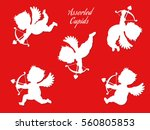 a set of various white cupids... | Shutterstock .eps vector #560805853