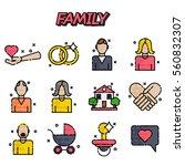 family flat icons set   Shutterstock .eps vector #560832307