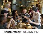 people enjoy food drinks party... | Shutterstock . vector #560839447