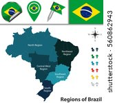 vector map of brazil with named ... | Shutterstock .eps vector #560862943