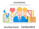 engineer construction... | Shutterstock .eps vector #560864803