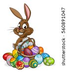 cartoon easter bunny rabbit... | Shutterstock .eps vector #560891047