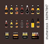 beer bottle flat colored icon... | Shutterstock .eps vector #560967847