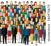 the crowd of people in flat... | Shutterstock .eps vector #560970673