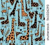 funny giraffes sketch  seamless ... | Shutterstock .eps vector #561026293