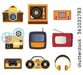 retro media icons | Shutterstock .eps vector #561031783
