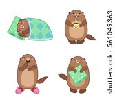 vector set of groundhog... | Shutterstock .eps vector #561049363