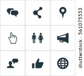 set of 9 simple social icons.... | Shutterstock . vector #561075553