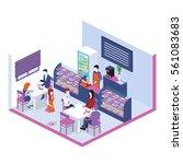 isometric interior of sweet... | Shutterstock . vector #561083683