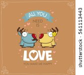 romantic greeting card with... | Shutterstock .eps vector #561113443