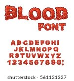 blood font. red liquid letter.... | Shutterstock . vector #561121327