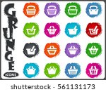 shopping bascket icon set for...