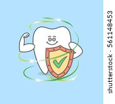 cartoon tooth with a shield and ... | Shutterstock .eps vector #561148453