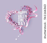 valentines day card with pink... | Shutterstock .eps vector #561166363