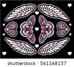 set of butterfly and flowers... | Shutterstock .eps vector #561168157