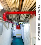 Small photo of Partitions with pipe and wires on aircraft carrier