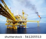 offshore construction platform... | Shutterstock . vector #561205513