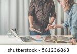 teamwork businesswoman standing ... | Shutterstock . vector #561236863