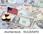 us flag sign and dollar cash... | Shutterstock . vector #561265693