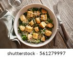 Small photo of Warm Kale Caesar with Tofu