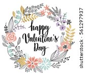 valentine s day callygraphic... | Shutterstock .eps vector #561297937