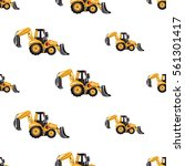seamless pattern with tractor...   Shutterstock .eps vector #561301417
