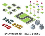 set isometric road and vector... | Shutterstock .eps vector #561314557