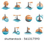 lighthouse icon set with ocean waves and seagulls. Vector illustration