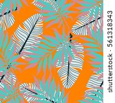 summer exotic floral tropical... | Shutterstock .eps vector #561318343