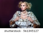 Small photo of Winter Woman in Luxury Fur Coat, light filter, aliasing, Color filters and white Smoke. elegant young Woman with gorgeous hair and makeup
