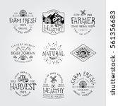 set of badge for farmers market ... | Shutterstock .eps vector #561356683