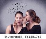 a teenager girl looking... | Shutterstock . vector #561381763