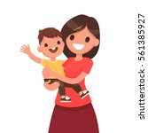 motherhood. mother with a baby... | Shutterstock .eps vector #561385927