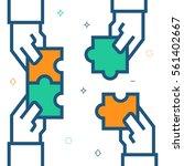 hands assembling puzzle ... | Shutterstock .eps vector #561402667