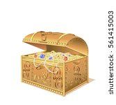 chest with gold coins and jewels | Shutterstock .eps vector #561415003