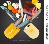 vitamin d in food. beautiful...   Shutterstock .eps vector #561416443