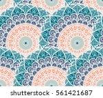 hand drawn mandala seamless... | Shutterstock .eps vector #561421687
