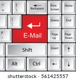 computer keyboard with e mail   ... | Shutterstock .eps vector #561425557
