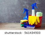 cleaning concept with supplies... | Shutterstock . vector #561434503