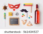 jewish holiday purim mock up... | Shutterstock . vector #561434527