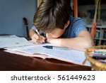 young caucasian male child is... | Shutterstock . vector #561449623