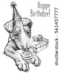 birthday card with cute puppy....   Shutterstock .eps vector #561457777