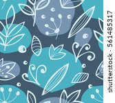 seamless pattern with foliage.... | Shutterstock .eps vector #561485317