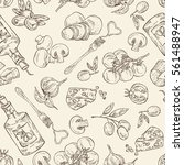 seamless with  folk  vegetables ... | Shutterstock .eps vector #561488947