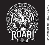tiger fighter typography  tee...