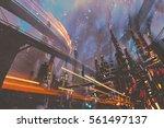 sci fi scenery of futuristic... | Shutterstock . vector #561497137